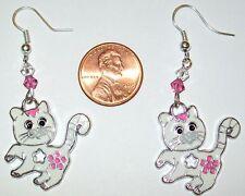 CAT EARRINGS-WHITE CATS-ENAMEL-PINK/CRYSTAL SWAROVSKI BEADS #716