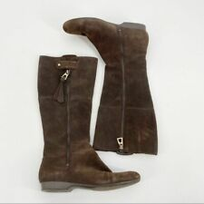 Enzo Angiolini Brown Suede Tall Flat Boot 7.5 Women's Knee-High Leather