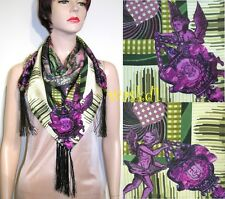 "CHRISTIAN LACROIX purple ANGELS Celestial Charts TASSELS silk 34"" scarf NWT Auth"