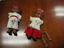 """(2) 6"""" Native American Dolls with Moveable Arms - Missing one Arm - No Boxes"""