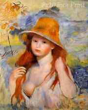 Young Woman in a Straw Hat by Auguste Renoir - Girl Breast Nude 8x10 Print 2304