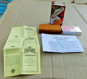 Complete Wooden Set of Cribbage. Sealed Cards, Fold up Crib Board & Instructions
