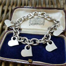 "925 STERLING SILVER BRACELET, THICK CHAIN, HEART CHARMS BRACELET, 7.5"", HEAVY"
