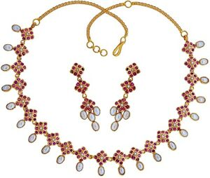 RARE COMBINATION NATURAL RUBY PEARL OVAL  NECKLACE EARRING IN 92.5 SILVER