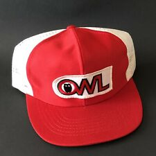 Vintage OWL Snapback Trucker Hat Cap Red Flat Bill Embroidered Patch Mesh