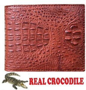 Brown Genuine Crocodile Alligator Horn Back Skin Leather Men's Bifold Wallet
