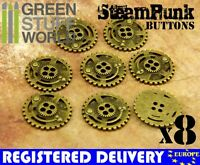 "8x Steampunk Buttons SPROCKET GEARS - Antique Gold - 7/8"" (22mm) - Metal Shank"