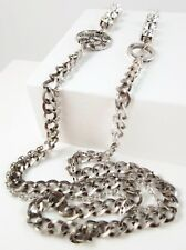 £95 Silver Flower Long Chain Link Double Necklace Swarovski Elements Crystal