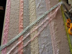 Job Lot Off-Cuts STRETCH Lace 10 x 1m lengths Lace Bundle Light Colours 1