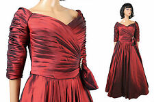 Dark Red Taffeta Wedding Gown Sz 12 L American Bride Long Bridesmaid Prom Dress