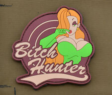 """PVC / Rubber Patch """"Bitch Hunter"""" Brown with VELCRO® brand hook"""