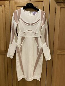BNWT Herve Leger White Ivory Nude Angelique Body Con Midi Dress S SMALL