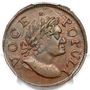 1760 N-9 R-3 PCGS MS 62 BN Voce Populi Half Penny Colonial Copper Coin 1/2p