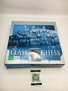 """Cardinal Glass Chess and Checkers Set with 9"""" Glass Board Frosted Pieces"""