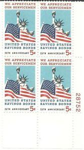 U.S. Scott #1320 Savings Bond 5 Cent MNH Plate Block