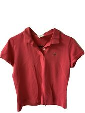 Vintage Style LACOSTE Izod CROCODILE Logo Collar POLO Coral Women's 38 T-Shirt