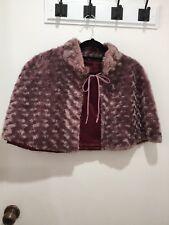 REVIEW Dusty Pink Faux Fur Cape Size 12 * Beautiful*