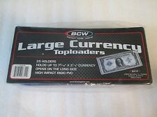 (10) NEW BCW Large Bill Top Load Rigid Currency Holders