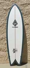 "Paragon Retro Fish 6'0"" Surfboard - White with Dark Blue Rails"