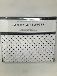 Tommy Hilfiger Twin Sheet Set Polka Dots White Blue NEW Flat, Fitted, Pillowcase