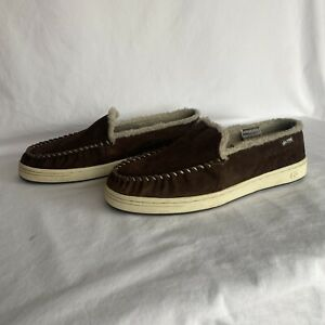 Globe Castro Brown Slip-On Shoes Loafers Slippers Men's Size 13 Sherpa Lined