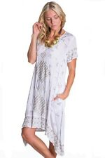 Adrift Vintage Earth White Dress Short Sleeved Summer Dresses Party Boho Size 10