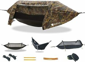 Hammock Tent Mosquito Net Waterproof Rainfly Hiking Camping Portable Travel Bed