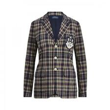 f6d04448c Polo Ralph Lauren Women 6 Slim Blazer Navy Plaid Crest Lined Jacket