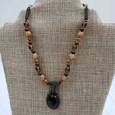 Robert Rose Beaded Necklace Amber Tone Pendant Glass Metal Beads Signed