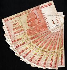 10 x 50 Billion Zimbabwe Dollars Banknotes ~ All AA 2008 Series ~ 10PCS Currency