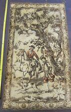 """Vtg Antique European Velvet Tapestry Wall Hanging Fox Hunting Scene 28"""" x 51"""""""