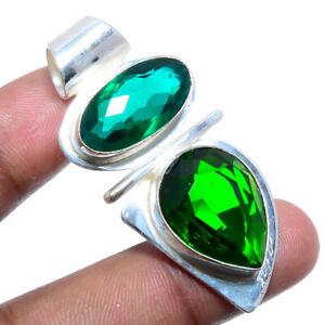 "Russian Chrome Diopside & Emerald Quartz Gemstone 925 Silver Pendant 1.97"" M1568"