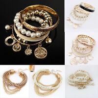 Fashion Women Lots Style Gold Rhinestone Bangle Charm Cuff Bracelet Jewelry Hot
