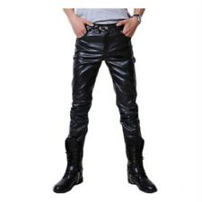 Mens PU Pants Metallic Faux Leather Stage Stylish Dance DS Bling Wet Look Long