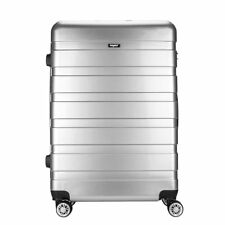 """Silver Hard Shell 4 Wheels Suitcase PC 28"""" Luggage Travel Check in Case Carry On"""