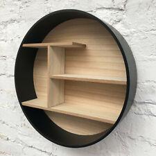 Large Retro Black Wooden Round Wall Floating Shelving Storage Shelf Display Unit