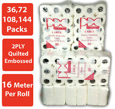 36,72,144 x 16m 2Ply Toilet Roll Quilted Embossed Paper Luxury Tissue Rolls Bulk