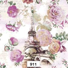 (911) TWO Individual Paper Luncheon Decoupage Napkins - PARIS, FLOWERS, ROSES