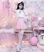 Kawaii Lolita Girls Cherry Blossom Tears Big Eyes Tops T shirt + Pleated Skirt