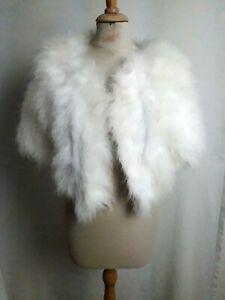 ANCIENNE VESTE BOLERO à PLUMES cygne T.38 VINTAGE 60 Feather wedding jacket sz S