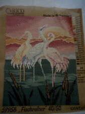 VINTAGE TAPESTRY GOBELIN MADE W. GERMANY 59958 FISCHREIHER COMPLETED UNFRAMED