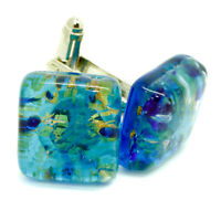 Murano Glass Cufflinks Green Blue and Gold Square Handmade Wedding from Venice