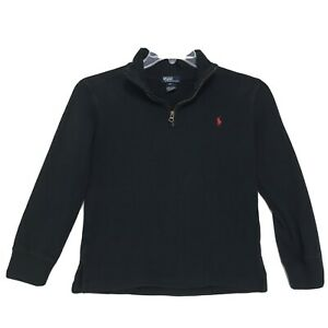 Polo Ralph Lauren Mock 1/4 Zip Sweater Boys S Small 8 10 Faded Black Red PONY