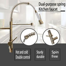 Pull Out/Down Double Faucet Telescopic Tap Hot Cold Mixer Hose Bathroom Kitchen