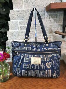 COACH BLUE POPPY STORY PATCH GLAM GLAMOUR TOTE 15301 HANDBAG BAG SHOULDER PURSE