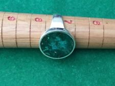 Vintage sterling MB Taxco Mexico Malachite stone ring size 7