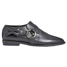 F-Troupe and Son London • DY405 Black Leather Bow Ring Shoe Loafer 38 (37) • NEW