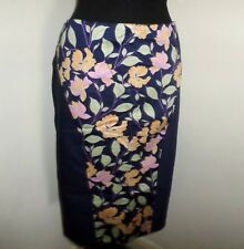 BNWT Navy Floral Panelled Fully Lined Stretch Cotton Pencil Skirt Size 18