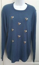 Equestrian Riding Crop Horn Knit Blue Sweater Vintage Courage Large