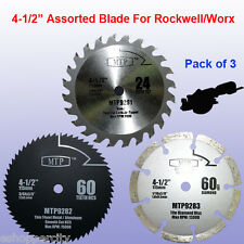 3x 4-1/2 inch Metal Wood Tile Saw Blade for ROCKWELL RK3441K WORX WX429L Compact